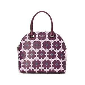 SYLVIA GRAPHIC CLOVER LARGE DOME SATCHEL ORCHID
